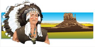 North American Indian, wearing a traditional headdress. Horizontal banner with an image of the American Indian. Vector Royalty Free Stock Photography