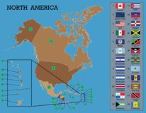 North American Map and flags stock illustration