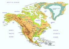 North American map with names of objects, vector Stock Image