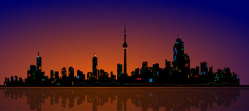North American Metropolis Skyline Urban City Drama. Tic Night View, detailed realistic vector Royalty Free Stock Images