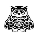 North american native art, owl. Vector illustration of an owl, stylization of Native North American art. Single component of a totem in black and white colors Stock Photo
