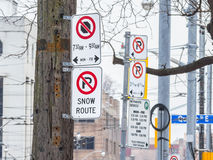 North American no parking signs in Toronto, Ontario, Canada Royalty Free Stock Photography