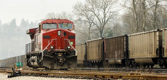 North American Railway Locomotive and Freight Cars Stock Photo
