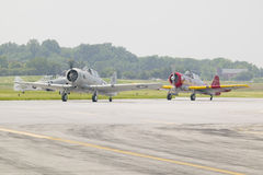 North American SNJ-4 and SNJ-6 fighter plane Stock Photo