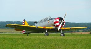 North American T6 Texan. On the ground at the airport of Juvaincourt in France Royalty Free Stock Photography