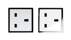 North American white electric wall outlet receptacle Royalty Free Stock Photography