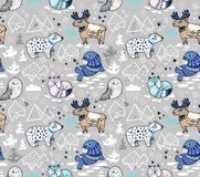 North animals, geometric iceberg and mountains vector pattern. Polar animals seamless pattern in gray and blue colors. Antarctica polar wild life decorative vector illustration