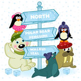 North animals near ice sign Royalty Free Stock Photo