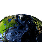 North Atlantic on Earth with exaggerated mountains. North Atlantic on model of Earth with exaggerated surface features including ocean floor. 3D illustration Royalty Free Stock Photography