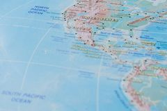 North Atlantic Ocean in close up on the map. Focus on the name of Ocean. Vignetting effect.  stock images