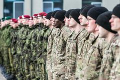 NATO soldiers on ceremony. The North Atlantic Treaty Organization, also called the North Atlantic Alliance, is an intergovernmental military alliance between 29 stock photo