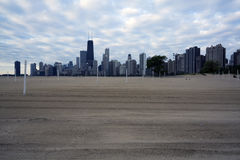 North Avenue Beach ready for volleyball stock photo