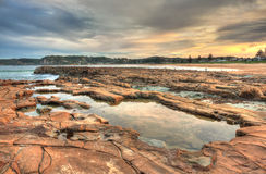 North Avoca rock pools at sunset Stock Photo