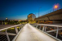 The North Bank Pedestrian Bridge at night, in Boston, Massachuse Royalty Free Stock Image