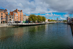 North bank of the river Liffey at Dublin City Center Stock Image