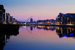 North bank of the river Liffey at Dublin City Center at night Stock Image