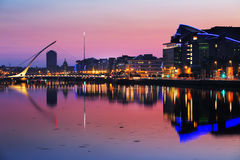 North bank of the river Liffey at Dublin City Center at night Stock Photo