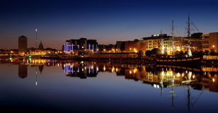 North bank of the river Liffey at Dublin City Center at night Royalty Free Stock Photo