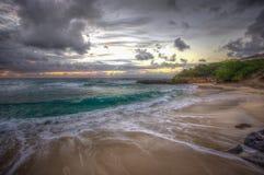 Beautiful Beach Sunset Oahu Hawaii Stock Photo