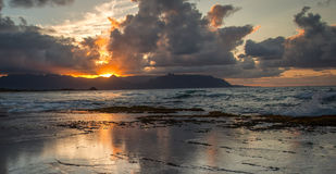 Tropical Sunset Oahu Hawaii Stock Image