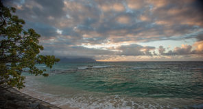 Sunset at a windward beach on Oahu Hawaii Royalty Free Stock Photo