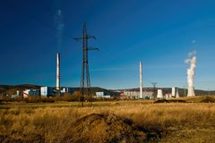 North Bohemian landscape with power plants on 15th february 2019 royalty free stock images