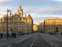 North Bridge at dusk, Edinburgh. Looking along North Bridge at dusk, in Edinburgh Royalty Free Stock Image