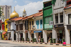 North Bridge Road Shops in the Malay Heritage District. KAMPONG GLAM, SINGAPORE - AUGUST 17, 2016: Shops in historic buildings line North Bridge Road in the royalty free stock image