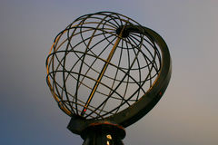 North Cape Globe at daylight. The Famous North Cape in Norway during the day (nordkapp Stock Photo