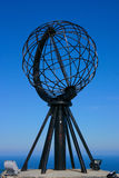 North Cape Globe Monument. The Famous North Cape in Norway at midnight (nordkapp Royalty Free Stock Images