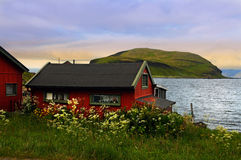 North cape island. Small house on north cape island near Honningsvag Stock Photography