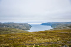 North Cape Nordkapp and Barents Sea at the north of the island of Mageroya in Finnmark, Norway. Beautiful landscape of North Cape Nordkapp and Barents Sea at the Stock Images