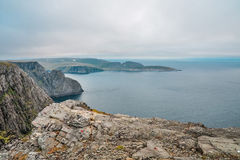 North Cape Nordkapp and Barents Sea at the north of the island of Mageroya in Finnmark, Norway. Beautiful landscape of North Cape Nordkapp and Barents Sea at the Royalty Free Stock Images