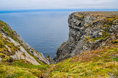 North Cape Nordkapp and Barents Sea at the north of the island of Mageroya in Finnmark, Norway. Beautiful landscape of North Cape Nordkapp and Barents Sea at the Royalty Free Stock Photography