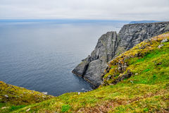 North Cape Nordkapp and Barents Sea at the north of the island of Mageroya in Finnmark, Norway. Beautiful landscape of North Cape Nordkapp and Barents Sea at the Royalty Free Stock Image