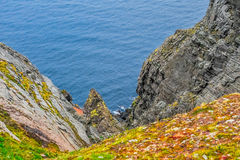 North Cape Nordkapp and Barents Sea at the north of the island of Mageroya in Finnmark, Norway Royalty Free Stock Image