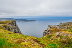 North Cape Nordkapp and Barents Sea at the north of the island of Mageroya in Finnmark, Norway. Stunning landscape of North Cape Nordkapp and Barents Sea at the Royalty Free Stock Photography