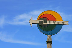 North Cape Sign. The Famous North Cape in Norway ad midnight (nordkapp Royalty Free Stock Photo