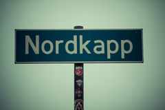 North cape sign, nordkapp, norway Stock Photos