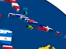North Caribbean on 3D map with flags. Map of North Caribbean with embedded flags on 3D political map. Accurate official colors of flags. 3D illustration Royalty Free Stock Image