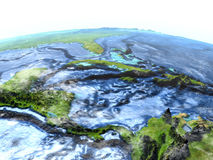 North Caribbean on Earth - visible ocean floor. North Caribbean on 3D model of Earth. 3D illustration with plastic planet surface and ocean floor. Elements of Stock Image