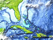 North Caribbean on Earth - visible ocean floor. North Caribbean on 3D model of Earth. 3D illustration with plastic planet surface and ocean floor. Elements of Stock Photography