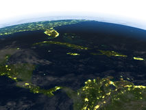 North Caribbean at night on planet Earth. North Caribbean at night. 3D illustration with detailed planet surface and visible city lights. Elements of this image Stock Photography