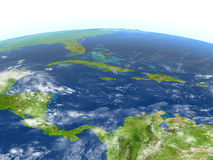 North Caribbean on planet Earth. North Caribbean. 3D illustration with detailed planet surface. Elements of this image furnished by NASA Royalty Free Stock Photography