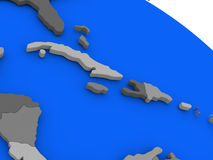 North Caribbean on political Earth model. Map of North Caribbean on 3D model of Earth with countries in various shades of grey and blue oceans. 3D illustration Royalty Free Stock Photography