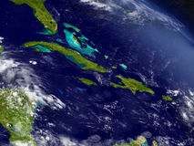 North Caribbean from space. Cuba, Jamaica, Haiti and Dominican Republic with surrounding region as seen from Earth's orbit in space. 3D illustration with highly Royalty Free Stock Image