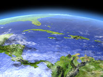 North Caribbean from space. North Caribbean from Earth's orbit in space. 3D illustration with detailed planet surface. Elements of this image furnished by NASA Stock Image