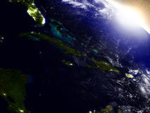 North Caribbean from space during sunrise royalty free illustration