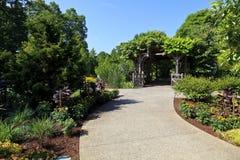 North Carolina Arboretum Garden Entrance in Asheville. A garden entrance under a trellis in the summer royalty free stock image
