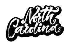 North Carolina autoadesivo Iscrizione moderna della mano di calligrafia per la stampa di serigrafia Fotografia Stock Libera da Diritti